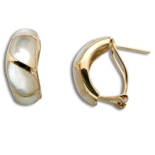 14KT Yellow Gold Half-Hoop MOP (Mother of Pearl Shell) French Clip Earrings
