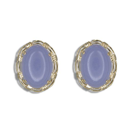 14KT Gold Cut-In Rope Design with Oval Shaped Purple Jade French Clip Earrings