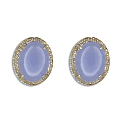 14KT Yellow Gold Cut-In Chinese Pattern Design with Oval Shaped Purple Jade Earrings