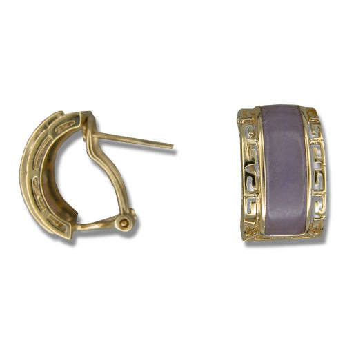 14KT Yellow Gold Cut In Chinese Pattern with Purple Jade Half-Hoop French Clip Earrings