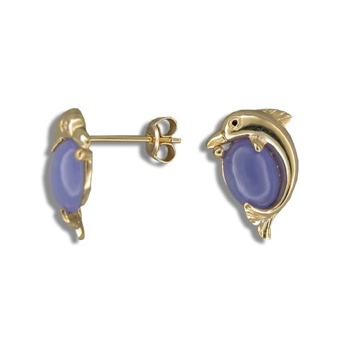 14KT Yellow Gold Dolphin with Purple Jade Post Earrings