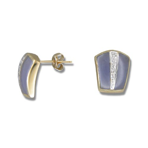 14KT Yellow Gold Bar with Diamond and Purple Jade Earrings