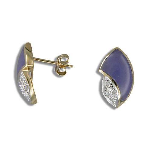 14KT Yellow Gold Hawaiian Purple Jade Shell Earrings with Diamond
