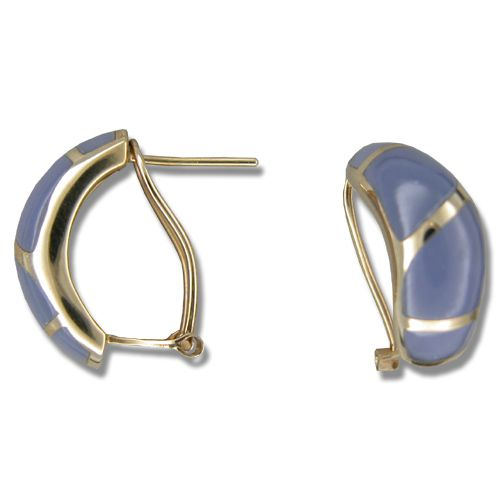 14KT Yellow Gold Half-Hoop Purple Jade French Clip Earrings
