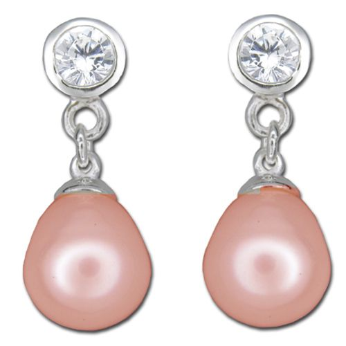 Sterling Silver Clear CZ with Dangling Peach Fresh Water Pearl Post Earrings