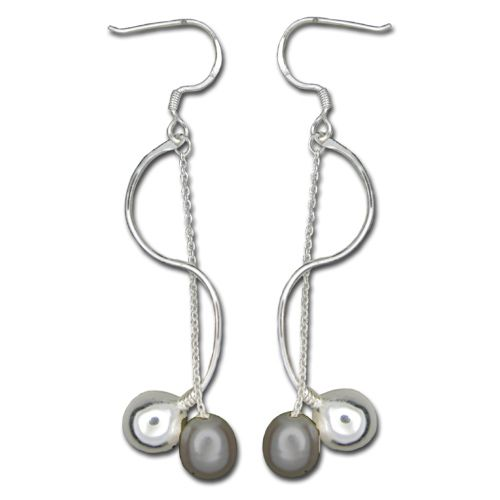 Sterling Silver Wave Design with Long Chain Black Fresh Water Pearl Drop Fish Wire Earrings