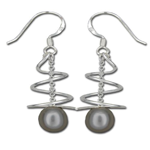 Sterling Silver Swirl and Dangling Black Fresh Water Pearl Fish Wire Earrings