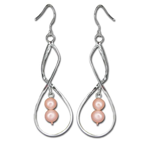 Sterling Silver Double Swirl with Peach Fresh Water Pearl Fish Wire Earrings