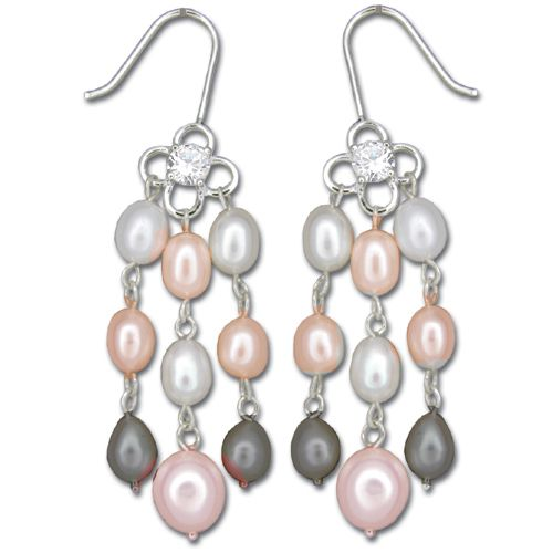Sterling Silver Four-Petal Flower with CZ and Three Strand Mixed-Color Fresh Water Pearl Fish Wire Earrings