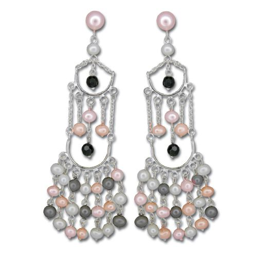 Sterling Silver Layered Mixed-Color Fresh Water Pearl Dangling Post Earrings