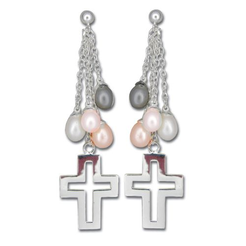 Sterling Silver Dangling Cross with Mixed-Color Fresh Water Pearl Post Earrings