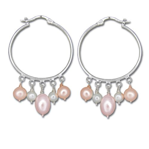 Sterling Silver Hoop Earrings with Dangling Mixed-Color Fresh Water Pearl