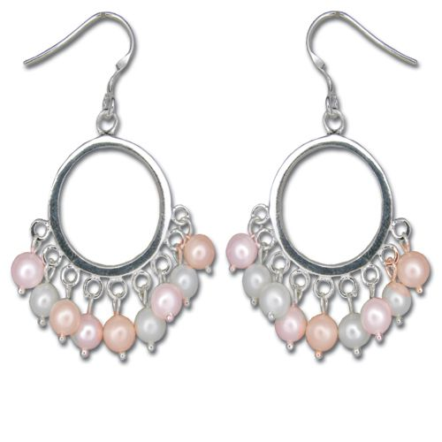 Sterling Silver Hoop with Dangle Mixed-Color Fresh Water Pearl Fish Wire Earrings
