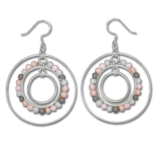 Sterling Silver Circles in Circle with Mixed-Color Fresh Water Pearl Dangling Earrings