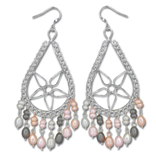 Sterling Silver Mixed-Color Fresh Water Pearl Statement Earrings