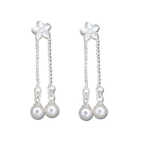 Sterling Silver Plumeria with Dangling White Fresh Water Pearl Earrings