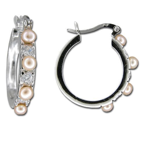 Sterling Silver Hoop with Peach Fresh Water Pearl and Clear CZ Post Earrings