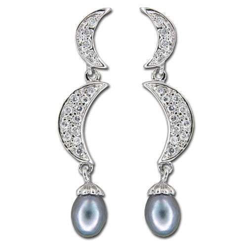 Sterling Silver Double Moon with CZ and Fresh Water Pearl Dangling Earrings