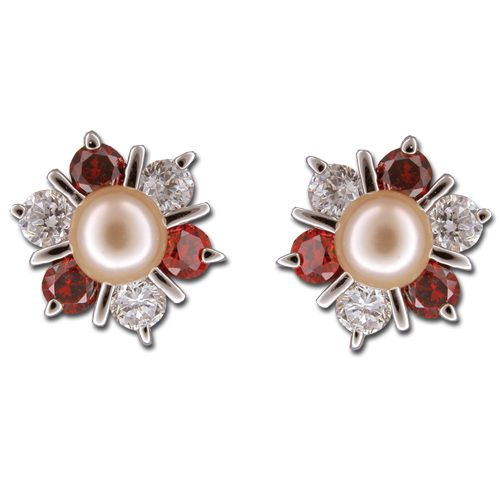 Sterling Silver 6 Petals Flower with CZ and Peach Fresh Water Pearl Post Earrings