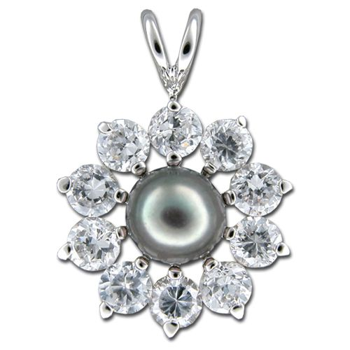 Sterling Silver Fresh Water Pearl with Clear CZ Elegant Sunflower Design Pendant