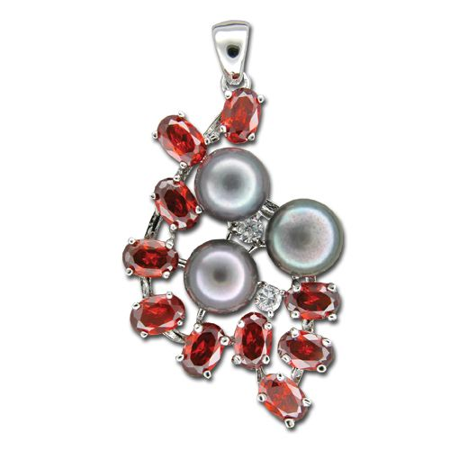Sterling Silver Shell Shaped Clear and Garnet Red CZ with Fresh Water Pearl Pendant