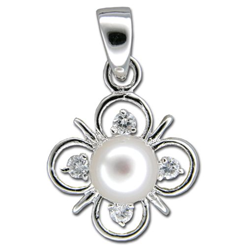Sterling Silver Fresh Water Pearl on 4 Petals Flower with CZ Pendant