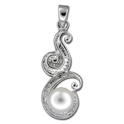 Sterling Silver Cut Out Scroll with Fresh Water Pearl Pendant