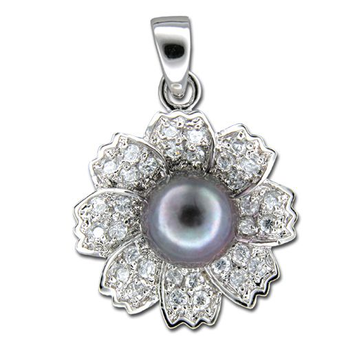 Sterling Silver 8 Petals Flower with CZ and Fresh Water Pearl Pendant