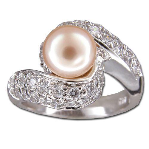 Sterling Silver Double Scroll with Clear CZ and Fresh Water Pearl Ring