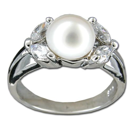 Sterling Silver Marquise Cut Clear CZ with Fresh Water Pearl Ring