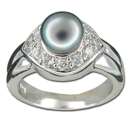 Sterling Silver Eye-Shaped Clear CZ with Fresh Water Pearl Ring