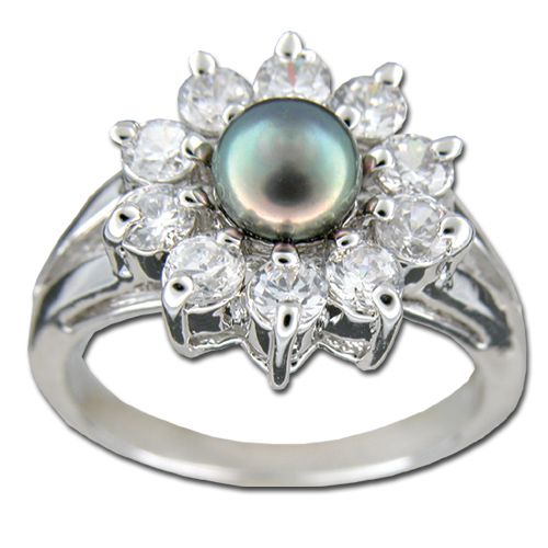 Sterling Silver Fresh Water Pearl with Clear CZ Elegant Sunflower Design Ring