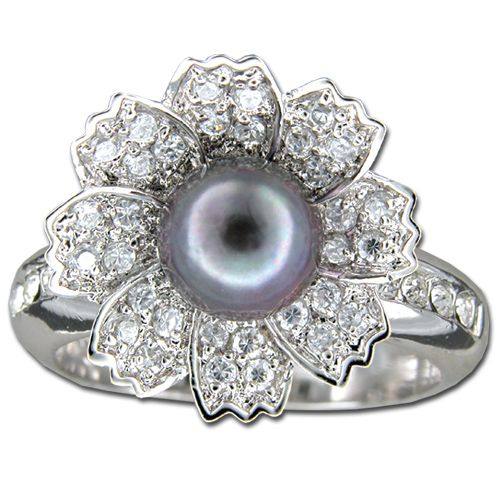 Sterling Silver 8 Petals Flower with CZ and Fresh Water Pearl Ring