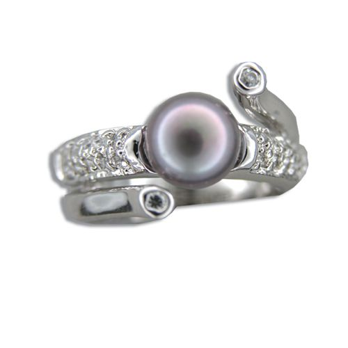 Sterling Silver Fancy Channel Set Clear CZ with Black Fresh Water Pearl Ring