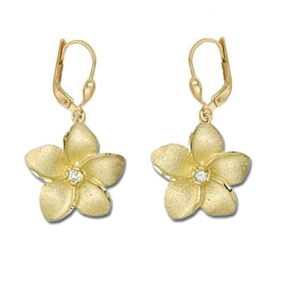 14K Yellow Gold 18mm Hawaiian Plumeria with Diamond Lever Back Earrings