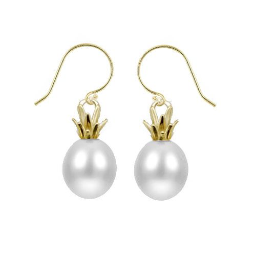 14KT Yellow Gold and Freshwater Pearl Pineapple Fish Wire Earrings