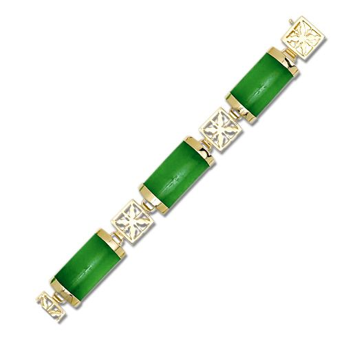 14KT Yellow Gold Green Jade Bracelet with 14KT Gold Hawaiian Quilt Filigree