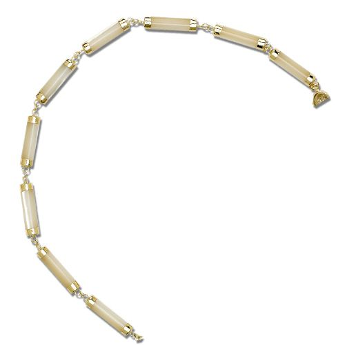 14KT Yellow Gold Longevity MOP (Mother of Pearl Shell) Short Tube Bracelet