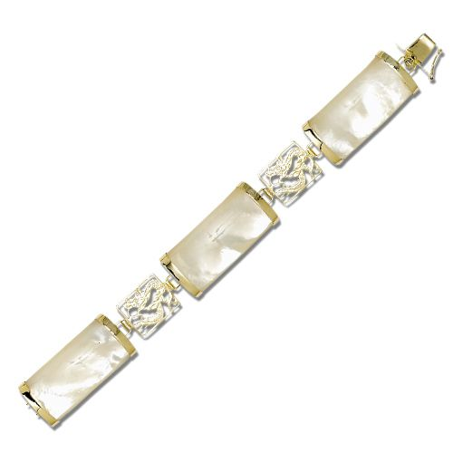14KT Yellow Gold Dragon Filigree with MOP (Mother of Pearl Shell) Large Bar Bracelet