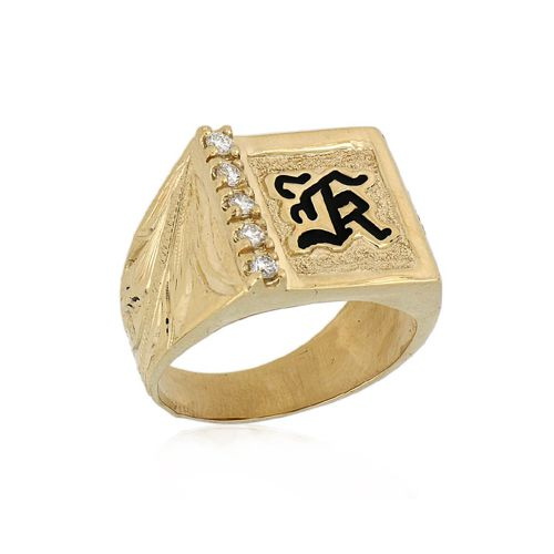 14KT Yellow Gold Hawaiian Men's Initial Ring with Diamond