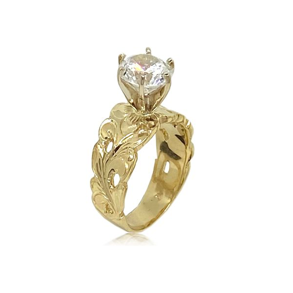14KT Gold Hawaiian Cut-out Scroll Tapered Ring with Cubic Zirconia
