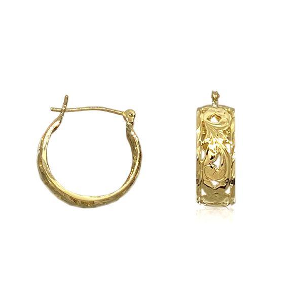14kt Yellow Gold 6mm Cut-In Hawaiian Plumeria Scroll Basket Hoop Earrings