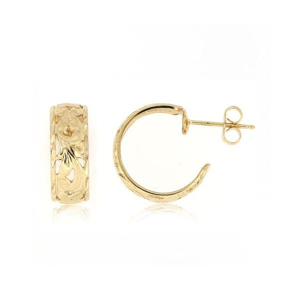 14kt Yellow Gold 6mm Cut-In Hawaiian Plumeria Scroll Circle Hoop Earrings