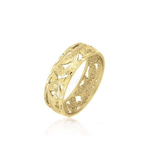 14kt Yellow Gold 6mm Cut-In Hawaiian Plumeria Scroll Ring Band