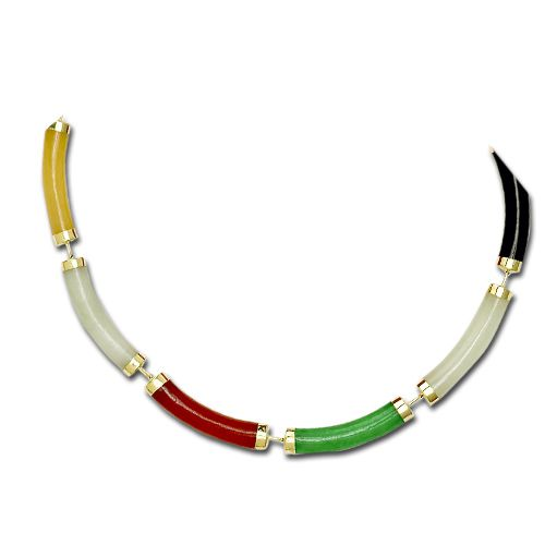 14KT Yellow Gold Longevity Mixed-Color Jade Curve Bracelet