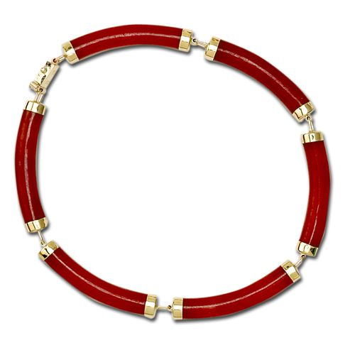14KT Yellow Gold Longevity Red Jade Curve Bracelet