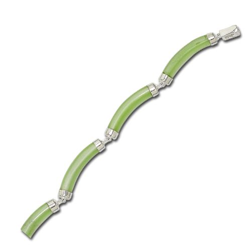 Sterling Silver Green Cat-Eye Curve Bracelet