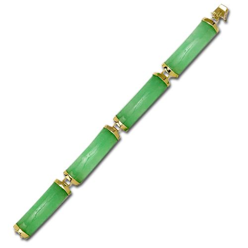 14KT Yellow Gold Good Fortune Green Jade Bar Bracelet