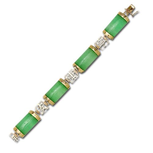 14KT Yellow Gold Chinese Characters with Green Jade Bracelet