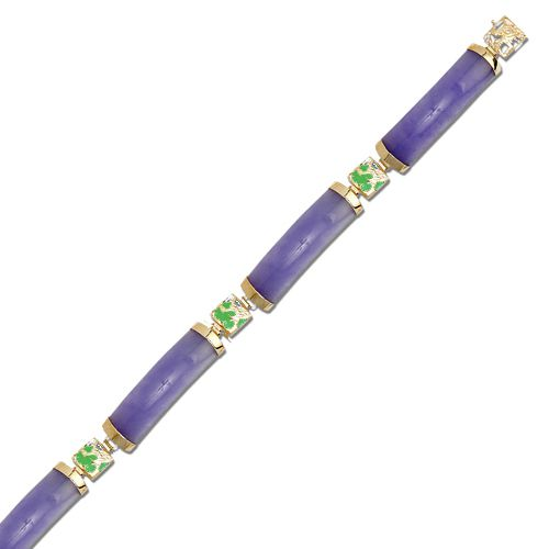 14KT Yellow Gold Dragon Filigree with Purple and Green Jade Bar Bracelet